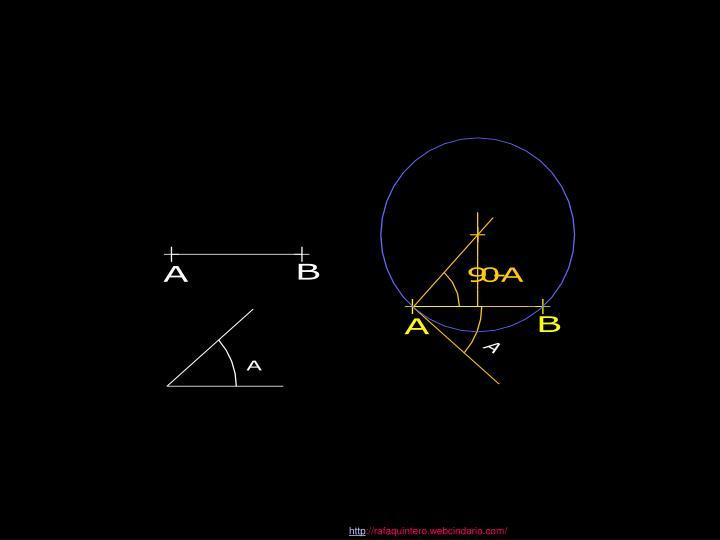 Se puede obtener el triángulo construyendo el arco capaz del segmento a, bajo el ángulo