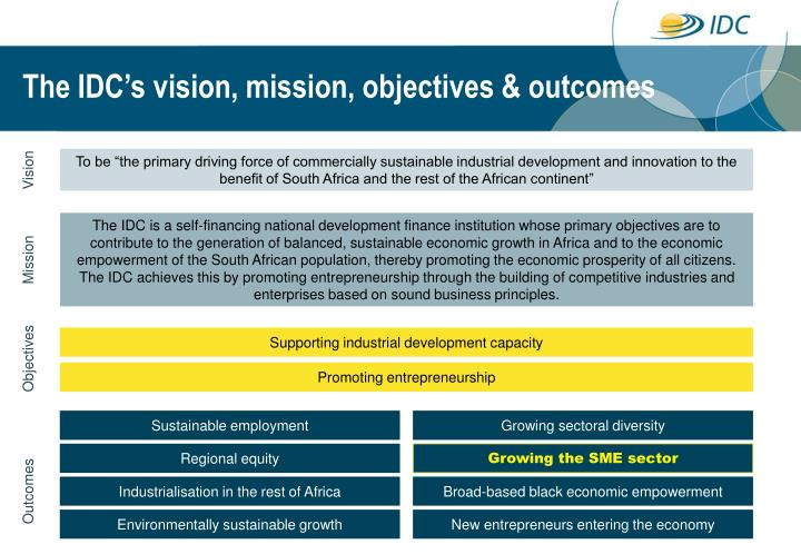 The IDC's vision, mission, objectives & outcomes