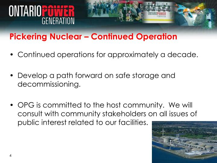 Pickering Nuclear – Continued Operation