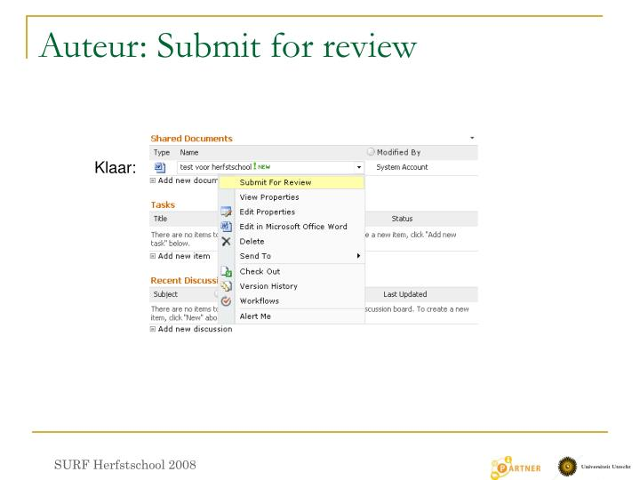 Auteur: Submit for review