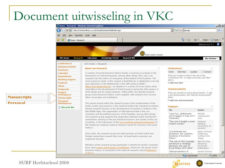 Document uitwisseling in VKC