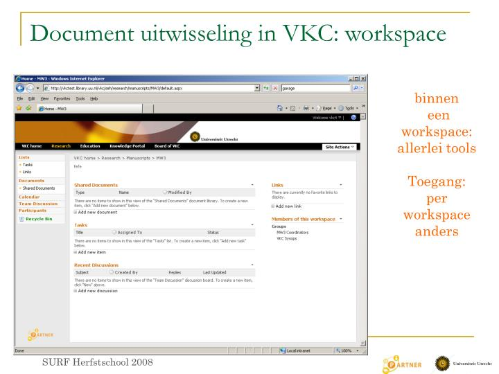 Document uitwisseling in VKC: workspace