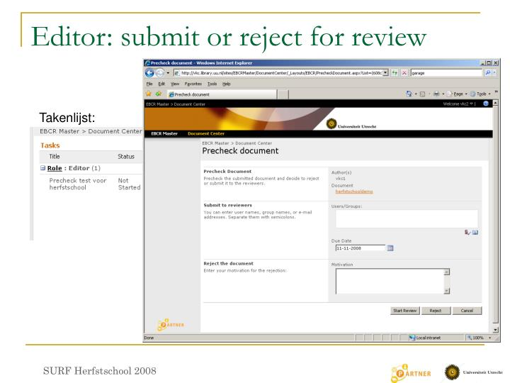 Editor: submit or reject for review