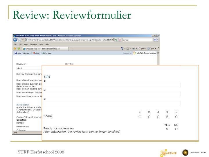 Review: Reviewformulier
