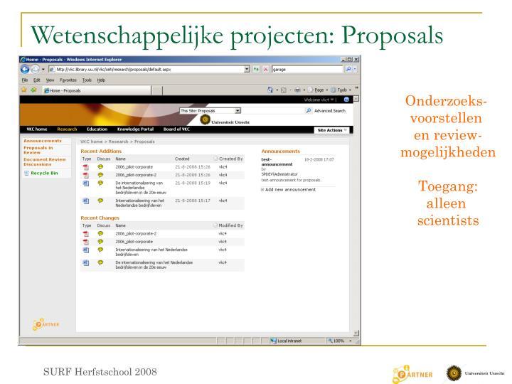Wetenschappelijke projecten: Proposals