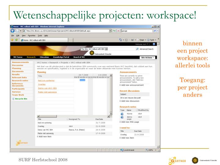Wetenschappelijke projecten: workspace!