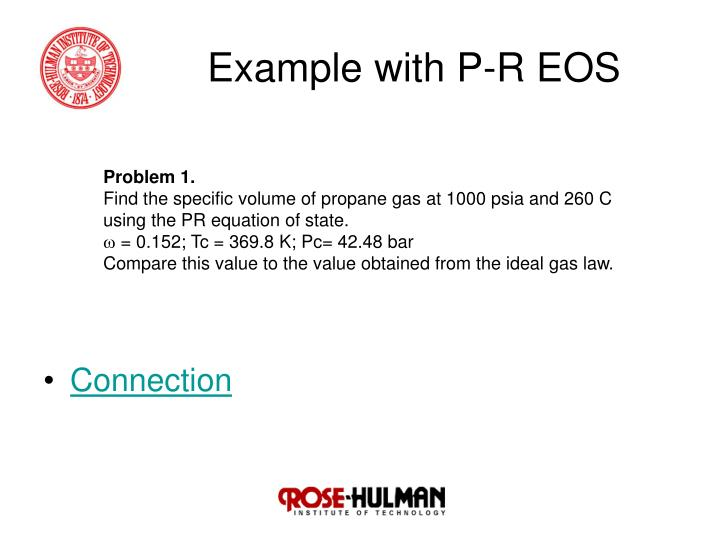 Example with P-R EOS
