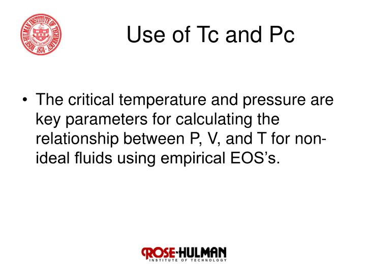 Use of Tc and Pc