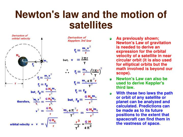 Newton's law and the motion of satellites