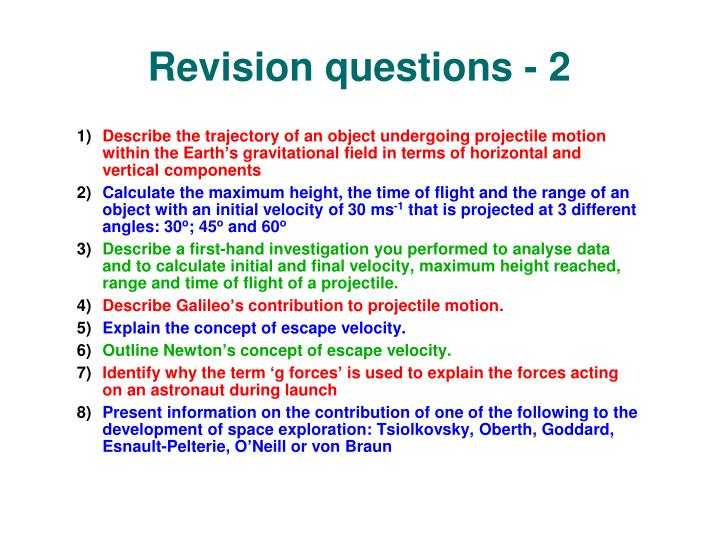 Revision questions - 2