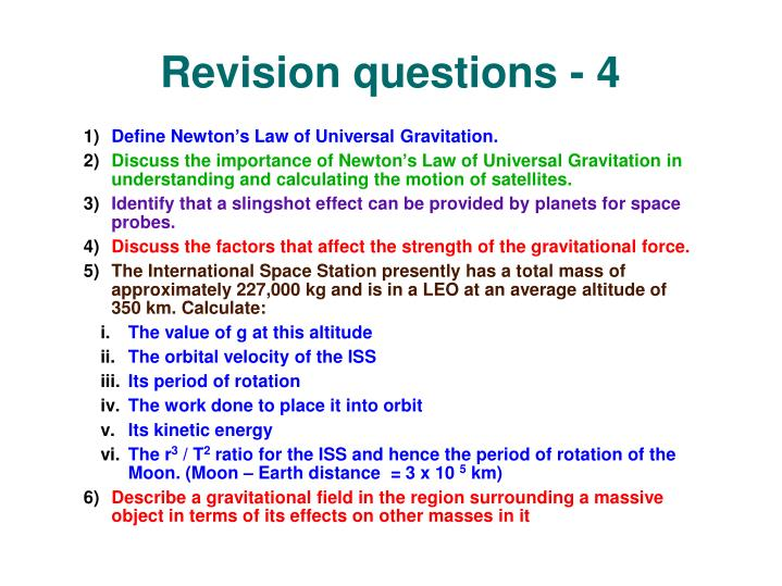Revision questions - 4