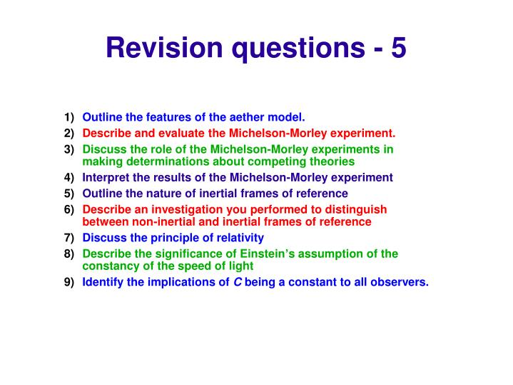 Revision questions - 5