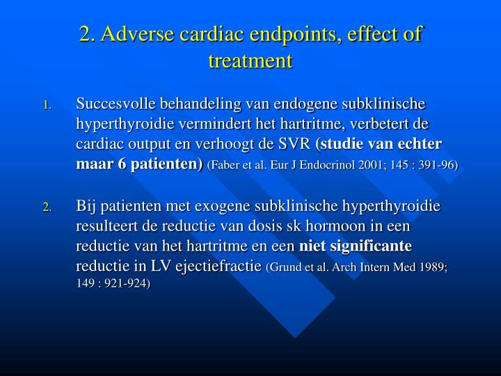 2. Adverse cardiac endpoints, effect of treatment