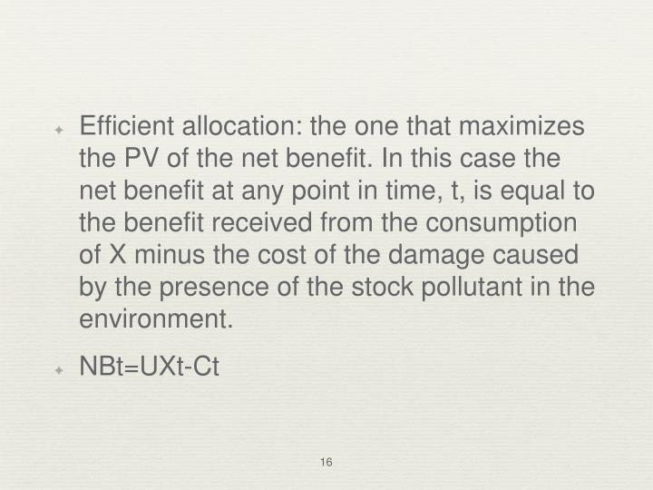 Efficient allocation: the one that maximizes the PV of the net benefit. In this case the net benefit at any point in time, t, is equal to the benefit received from the consumption of X minus the cost of the damage caused by the presence of the stock pollutant in the environment.