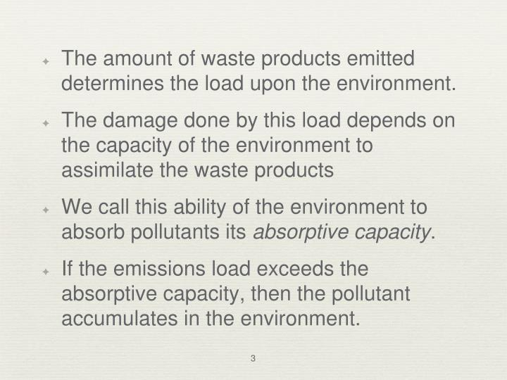 The amount of waste products emitted determines the load upon the environment.