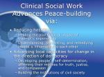 clinical social work advances peace building via