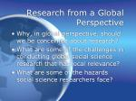 research from a global perspective