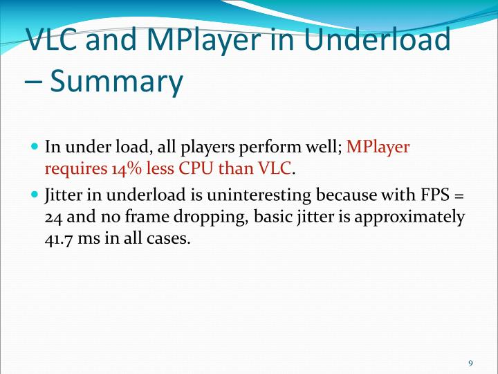 VLC and MPlayer in Underload – Summary