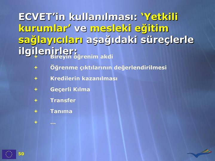 ECVET'in kullanılması: