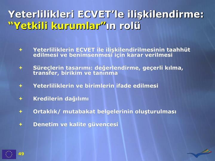 Yeterlilikleri ECVET'le ilişkilendirme:
