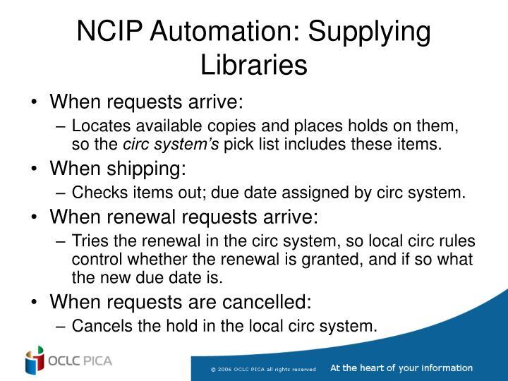 NCIP Automation: Supplying Libraries