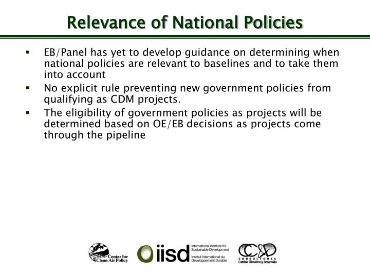Relevance of National Policies