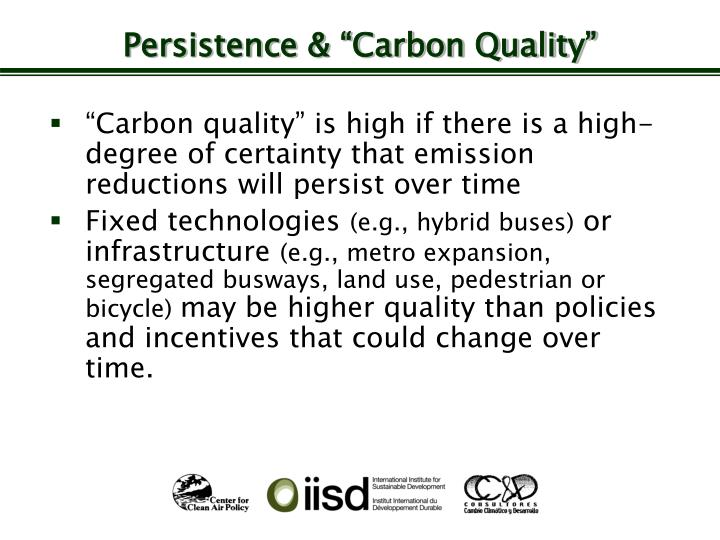 """Persistence & """"Carbon Quality"""""""