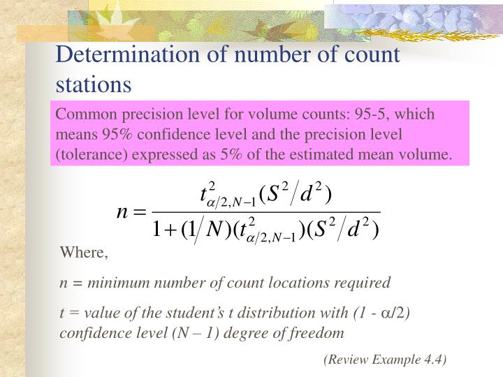 Determination of number of count stations