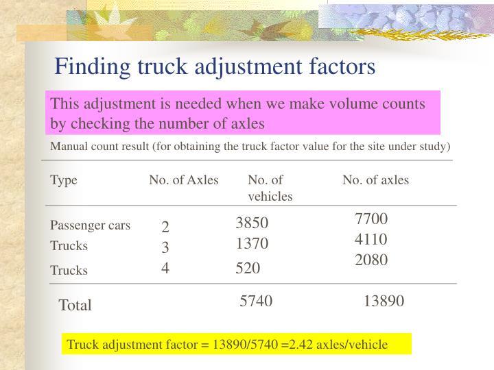 Finding truck adjustment factors