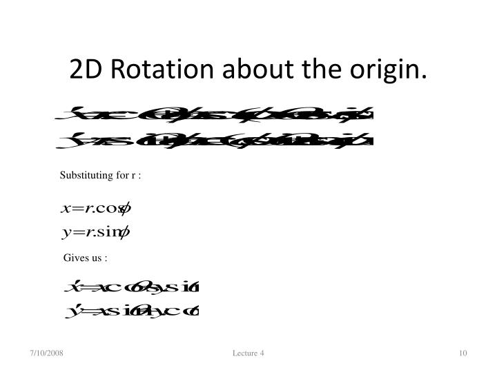 2D Rotation about the origin.