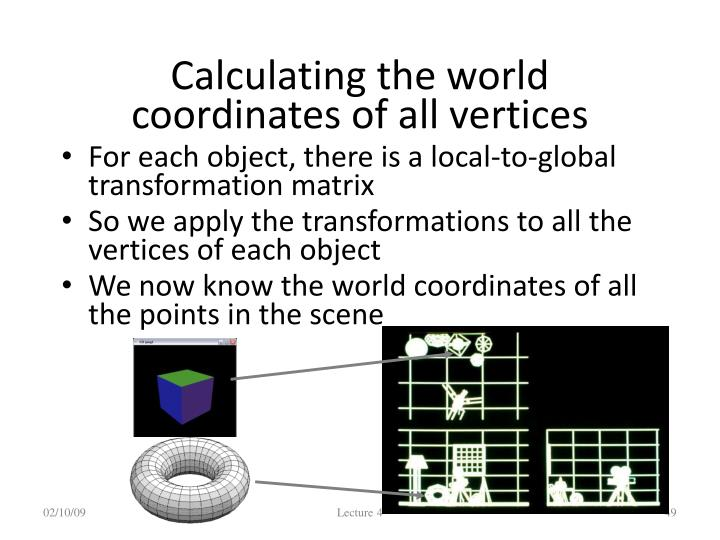 Calculating the world coordinates of all vertices