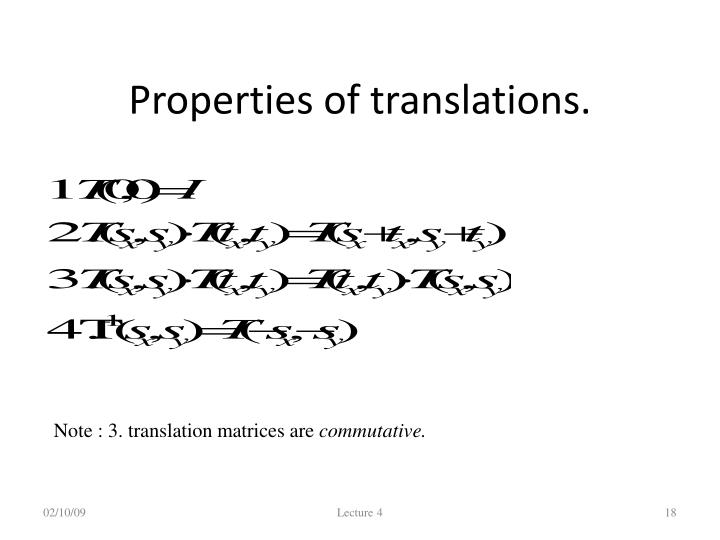Properties of translations.