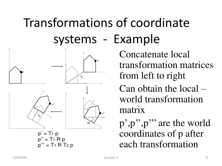 Transformations of coordinate systems  -  Example