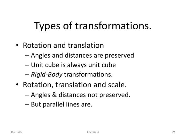 Types of transformations.