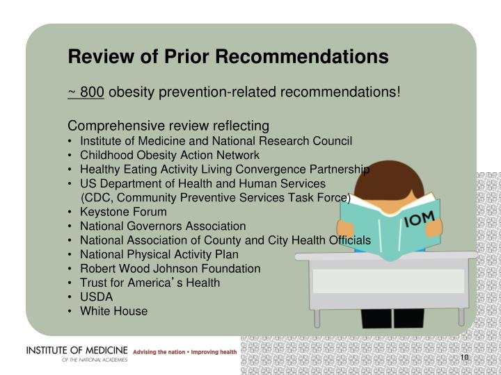 Review of Prior Recommendations