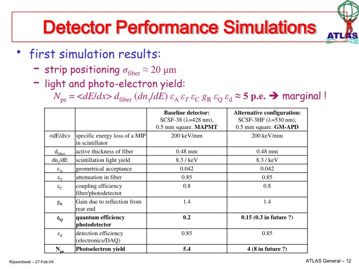 Detector Performance Simulations