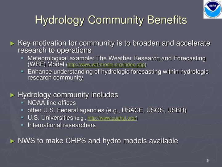 Hydrology Community Benefits