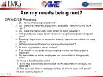 are my needs being met