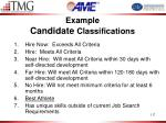 example candidate classifications