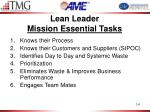 lean leader mission essential tasks