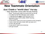new teammate orientation