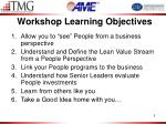 workshop learning objectives