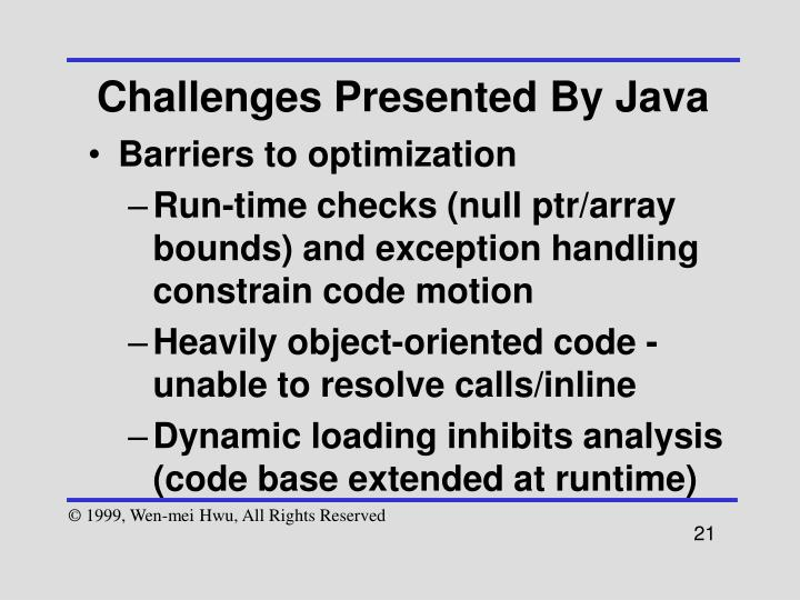 Challenges Presented By Java