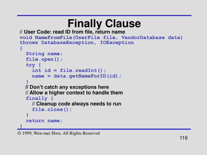Finally Clause