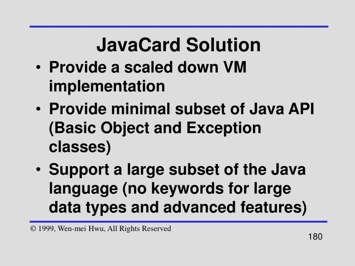 JavaCard Solution