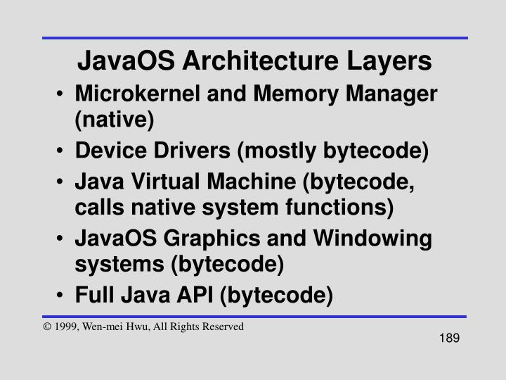 JavaOS Architecture Layers