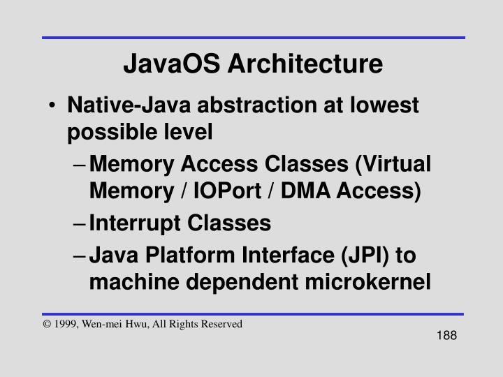 JavaOS Architecture
