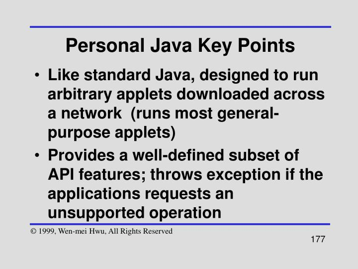 Personal Java Key Points