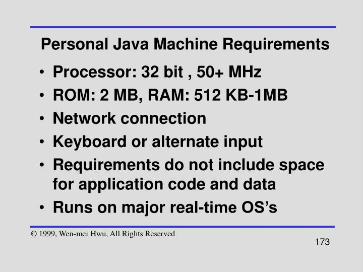 Personal Java Machine Requirements