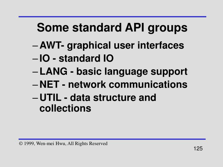 Some standard API groups